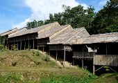 stock photo of longhouse  - Traditional Borneo Longhouse in Sabah - JPG