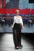ZAGREB, CROATIA - OCTOBER 18: Fashion model wearing clothes made by Elfs on 'Croaporter' fashion sho