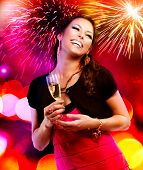 stock photo of champagne color  - Celebrating Woman - JPG