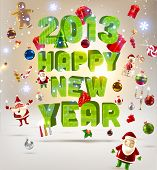 2013 Happy New Year 3d vector letters for Christmas invitation. All for Xmas design: balls, gifts, S