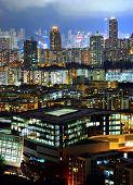 downtown in Hong Kong at night