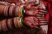 stock photo of dulhan  - hands of an indian bride showing her wedding mehendi - JPG