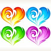 Set of burning vector heart. Red, blue, green and purple symbol of love