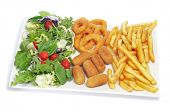 spanish combo platter with salad, croquettes, calamares a la romana and french fries on a white back