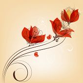 Romantic red flower decoration in retro style vector illustration