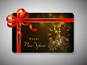 Gift card for Happy New Year celebration with red ribbon. EPS 10.