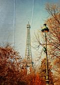 beautiful Parisian sunshine Eiffel Tower (nickname La dame de fer, the iron lady),The tower has beco