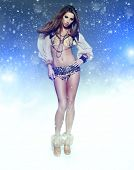 picture of showgirl  - Dance Queen in snow party - JPG