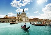 Grand Canal and Basilica Santa Maria della Salute, Venice, Italy and sunny day