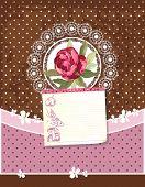 Old Retro Greeting Pastel Card with Label. Retro decor polka dot illustration.