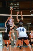 KAPOSVAR, HUNGARY - OCTOBER 7: Agnes Recsei (2nd from L) in action at the Hungarian I. League volley