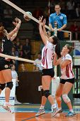 KAPOSVAR, HUNGARY - OCTOBER 7: Zsofia Harmath  (white 3) in action at the Hungarian I. League volley