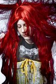 redhaired girl in a poetic representation