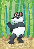 Panda bear practicing martial arts in the forest. Vector illustration with simple gradients. Charact