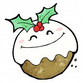 cartoon smiling christmas pudding