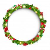 Merry Christmas Speech Bubble With Wreath, Isolated On White Background, Vector Illustration