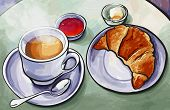 Fresh french breakfast with coffee expresso and croissant in watercolor - vector illustration