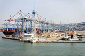 Haifa, Israel - May 19 - Patrol boats and merchant ships in the port city of Haifa, 2013, Israel