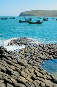 Giant's Basalt Causeway With Fishing Boats, Phu Yen Province, Vietnam