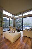 Upholstered furniture in living room with floor to ceiling windows