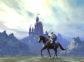 foto of knights  - Knight in armor riding near a castle - JPG