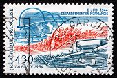 Postage Stamp France 1994 Tank, Crowd Waving Allied Flags