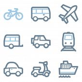 Transport icons, blue line contour series