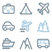 Travel icons, blue line contour series