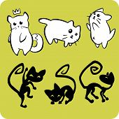 Black and White Cats - Vector set.