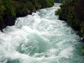 Rapids In A Narrow River. Taupo, New Zealand