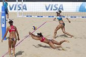 10/08/2011 LONDON, ENGLAND, Heather Bansley & Elizabeth Maloney (CAN) vs Alejandra Simon & Andrea Garc�?�?�?�a Gonzalo (ESP) during the FIVB Beach Volleyball, at Horse Guards Parade, Westminster, London.