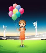 Illustration of a girl holding balloons standing in the middle of the court