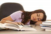 Woman Purple Shirt Asleep Books