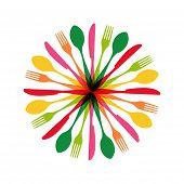 Cutlery Circle Shape Illustration