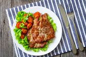 picture of shoulder-blade  - Steak with fresh salad on a plate - JPG