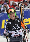 LIENZ, AUSTRIA 28 December 2009. Sarah Schleper (USA) reacts in the finish area after competing in the women's Audi FIS Alpine Skiing World Cup giant slalom race.
