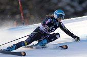LIENZ, AUSTRIA 28 December 2009. Julia Mancuso USA hits her hand on the piste and loses her ski pole as she speeds down the course during the women's Audi FIS Alpine Skiing World Cup giant slalom race