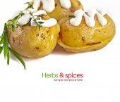 Patata al horno con salsa de crema agria, enfoque selectivo