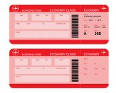 stock photo of aeroplane  - Vector image of airline boarding pass tickets with barcode - JPG