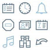 Organizer icons, blue line contour series