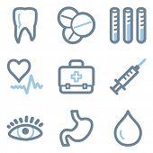 Medicine icons, blue line contour series