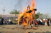 Burning effigy.