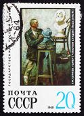 Postage Stamp Russia 1968 Sculptor With A Bust Of Homer