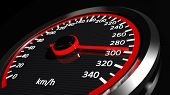 stock photo of speedometer  - Speedometer with moving arrow - JPG