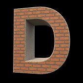 brick alphabet, letter D isolated on black background