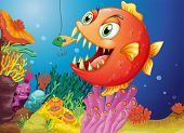 Illustration of a piranha under the sea