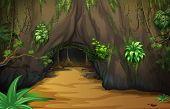 Illustration of a big tavern inside the forest