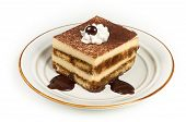 Sweet Italian Layered Tiramisu Cake On Dessert Plate