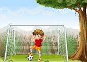 Illustration of a young football player near the big tree