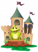 Illustration of a frog sitting at the wood with a castle at the back on a white background